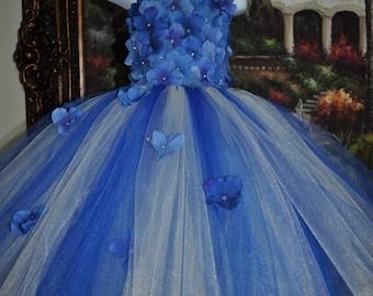 Royal Blue Ivory Dress, Infant Flower Girl Dress, Royal Blue Baby Dress, Royal Blue Flowergirl Dress, Ivory Royal Blue Tutu Dress