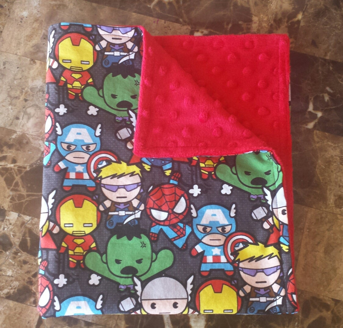 Marvel Kawaii Fabric And Red Minky Small Baby Receiving