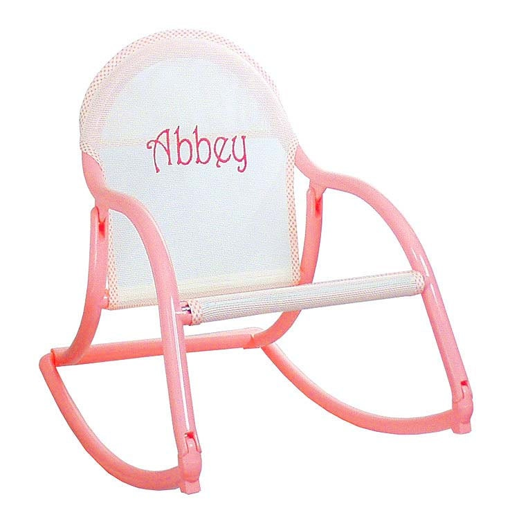 Pastel personalized childrens rocking chair that folds and is for Monogrammed kids chair