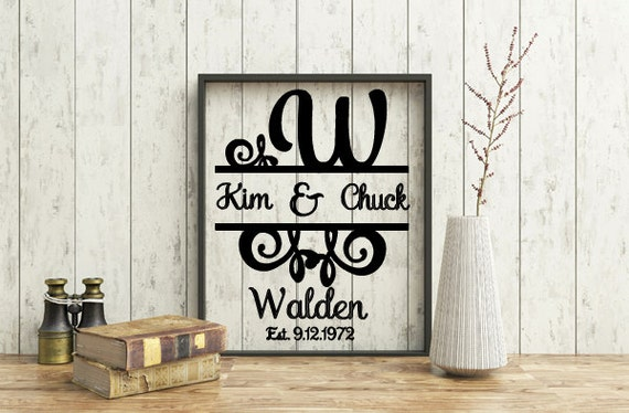 Personalized Initial Monogram Frame, Customized Wedding Frame, Anniversary, Vinyl Split Letter 8x10 Monogram Frame, Special occasion gift