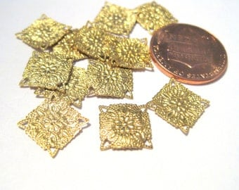 50pcs Small Raw Brass Filigree Square Link Connectors Approx 10mm