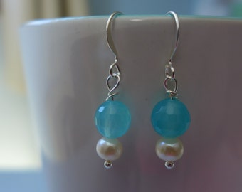 Chalcedony Freshwater Pearl and Silver Earrings