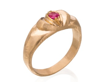 14k Gold with Ruby - Super Hero RIng