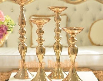 Wedding Mermaid Floral Stand /Pillar Candle Holder Flower Feather Balls Stand- Gold  24 inches 20 inch 15 inch 13 inch
