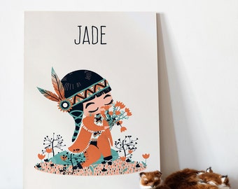Personalized children  Wall Art - the little indian - girl