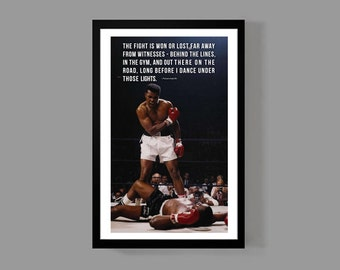 Muhammad Ali Custom Poster - The fight is won - Cassius Clay, Inspirational Quote Print, Motivational, Sports, Historic, Boxing
