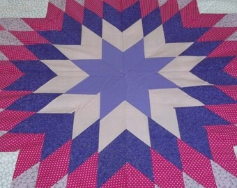 Pink and Purple Lone Star quilt top