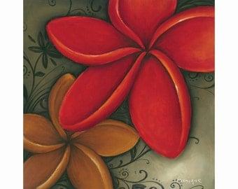 red frangipani art