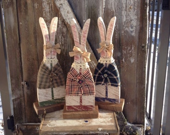 Primitive Wood Bunny, Easter Decor, Primitive Decor, Shelf Sitter, Primitive Wood, Easter Bunny, Girl Bunny, Primitive Spring Decor