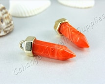Bullet Pendant, 2 pcs Acrylic Bullet Pendant, Gold Tone Cap Bullet Pendant, Orange Bullet Pendant, Pencil Pendant, Boho Bullet Pendant