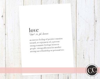 Love Definition Print | Digital Download