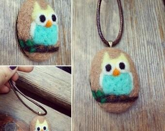 OWL necklace, Needle felted handmade pendant *free shipping*