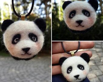PANDA necklace, Needle felted handmade pendant *free shipping*
