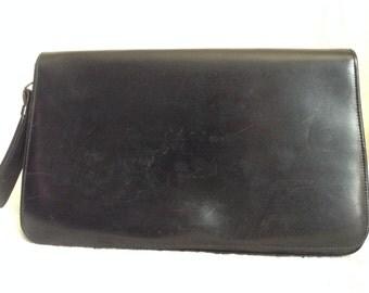 Pouch strap, black leather vintage.