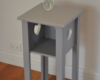 S A L E  reduced was 75.00 NOW 50.00 Cute Painted Vintage Table - blue/grey and white with shelf and heart detail