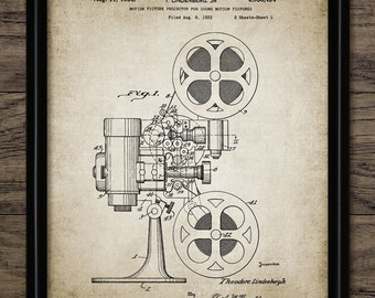 Vintage Movie Film Projector Patent Print - 1936 Motion Picture Projector - Cinema - Single Print #957 - INSTANT DOWNLOAD
