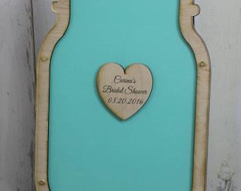 Wedding Guest Book/Heart/Top Drop/Guest Book Frame/Mason Jar/Wood Shapes/Alternative/Unique Guest Book/Wedding/U Choose Color/Jar Guestbook