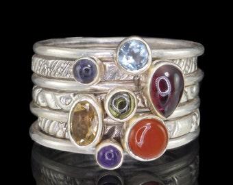 Gemstone Chakra Stack Rings - Set of 7 Rings - 925 Sterling Silver, Multi Gemstone Stacking Rings #B032