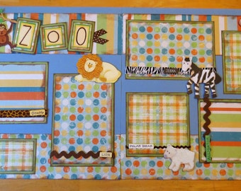 A Day at the Zoo PREMADE SCRAPBOOK LAYOUT 12x12 - 2 Pages