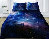 Blue galaxy bedding set galaxy duvet cover with sheets and pillowcases nebula print bedding sets custom made all sizes