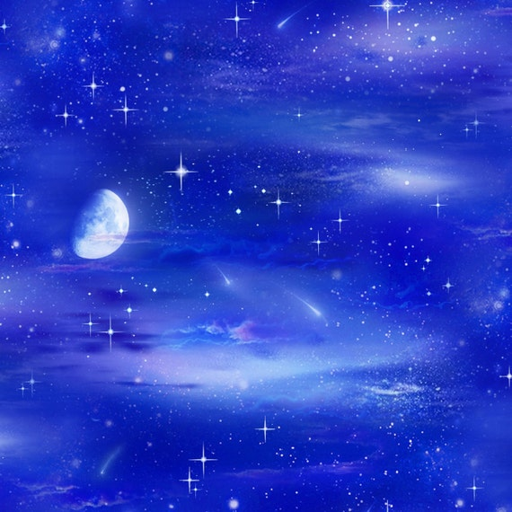 Night sky royal by elizabeth 39 s studio 430 roy cotton for Night sky fabric uk