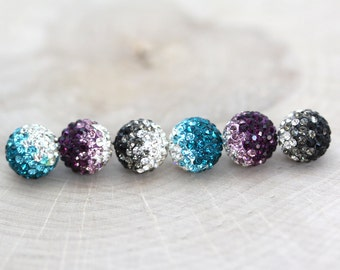 12mm Rhinestone Ombre Pave Clay Beads, 1 pair