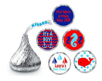Hershey Kisses Personalized Labels / Hershey Kiss Stickers Baby Shower / Nautical Baby Shower / Hershey Kiss Labels /  Hershey Kiss Favor