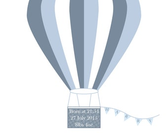 Personalised hot air balloon wall art print