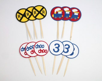 Train Cupcake Toppers in blue and red - Set of 12