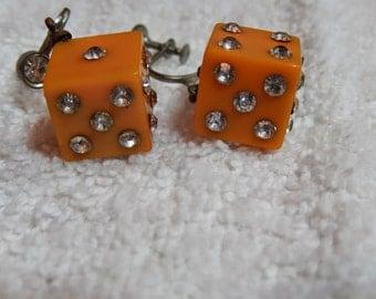 Bakelite Rhinestone Dice Earrings vintage cica 1940's-1950's
