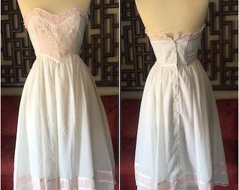 Gorgeous Lace Button-Back Gunne Sax Strapless Dress