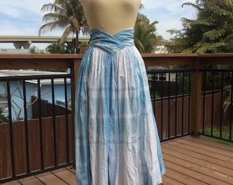 High V-Waist Plaid Midi Skirt