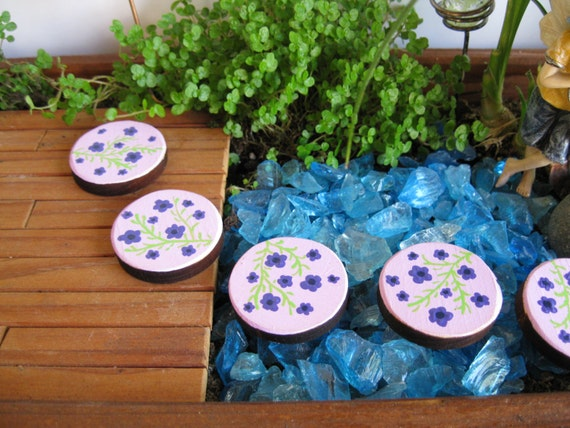 Fairy garden house hand painted stepping stones by pixiespatch - Hand painted garden stones ...