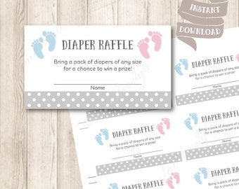Printable Baby Diaper Raffle Tickets, Baby Feet, Pink and Blue, Gender Neutral Baby Shower Printables, INSTANT DOWNLOAD