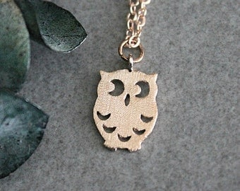 Rose Gold Owl Necklace, Owl Necklace, Rose Gold Owl Pendant, Owl Charm Necklace, Dainty Owl Necklace, Rose Gold Minimalist Necklace,