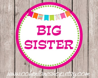 Instant Download Printable Big Sister Tshirt Transfer Design. Big Sister Iron On.  Big Sister Shirt.