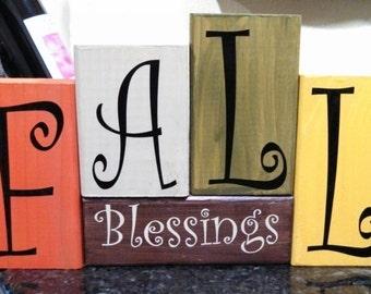 Fall Blessings Seasonal Decor Wood Block Set