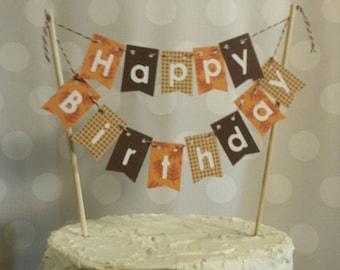 """Cake Bunting, """"November Orange"""",  Happy Birthday, Cake Topper, Paper banner"""