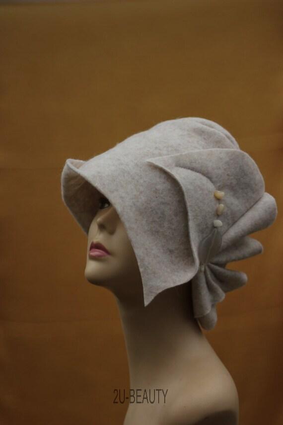 hats cloche winter hat felt womens white hat for winter