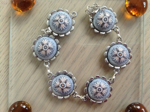 Handmade Silver and Clay Link Bracelet