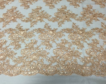 Champagne modern roses embroider on a mesh lace -yard