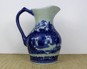 Flow Blue Pitcher, Reproduction Victorian Transferware Pitcher, Made in China