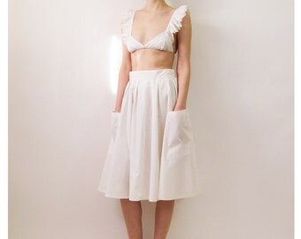 80s does 50s White Cotton Midi Skirt Small 26