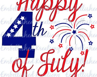 Happy Fourth of July with Firework Spray and Stars/Vinyl Decal/DIY/Glass Block/Tumbler