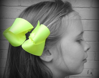 Neon Yellow Hair Bow, Neon Boutique Hair Bow, Neon Hairbow, Neon Hair Clip, Boutique Hair Bow, Bows, School Hair Bow, Hair Bows for Babies