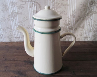 French Vintage Enamel Cream Coffee Pot and Filter - French Country Kitchen