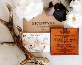 Custom leather wedding invitation