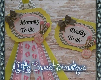 Pink & Yellow Mommy To Be and Daddy To Be Baby Shower Corsage Badge Yellow Pink and Chevron Baby Shower Theme