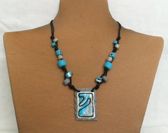 Blue Polymer Necklace - Unique Handmade Necklace