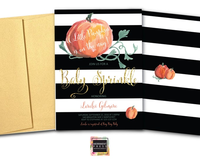 Pumpkin Baby Sprinkle Invitation // Little Pumpkin // Pumpkin // Pumpkin Invitation // Watercolor // Gold Glitter// NANTUCKET COLLECTION